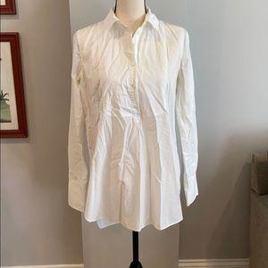 J Crew White Cotton Popover Shirt.